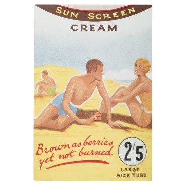 Beach Themed Sun Cream Advertisement Summer Beach Vintage Metal Print