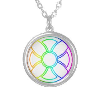 Sun Cross Round Pendant Necklace