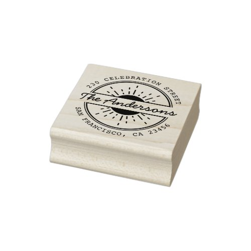 Sun  Custom Family Name Round Return Address Rubber Stamp