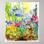 Sun Dappled el jardín de flores de la acuarela Posters