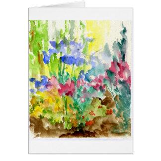 Sun Dappled el jardín de flores de la acuarela Felicitación