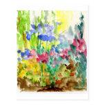 Sun Dappled el jardín de flores de la acuarela Postal