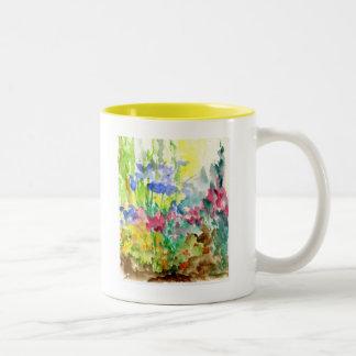 Sun Dappled Watercolor Flower Garden Coffee Mug
