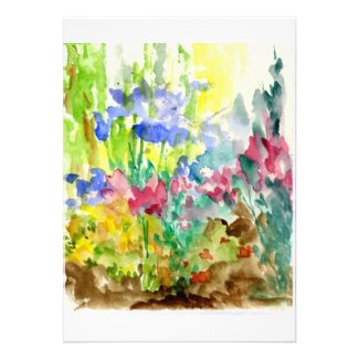 Sun Dappled Watercolor Flower Garden Custom Invitation