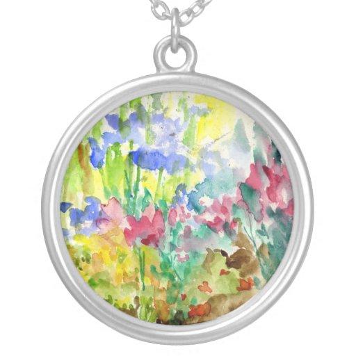 Sun Dappled Watercolor Flower Garden Pendants