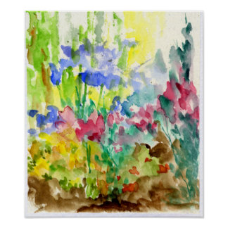 Sun Dappled Watercolor Flower Garden Print