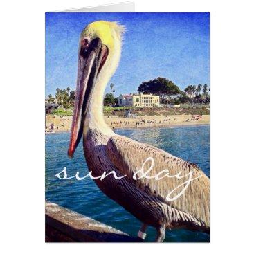 """Beach Themed """"Sun day"""" beach pelican photo blank inside card"""