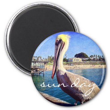 "Beach Themed ""Sun day"" quote beach pier pelican photo magnet"