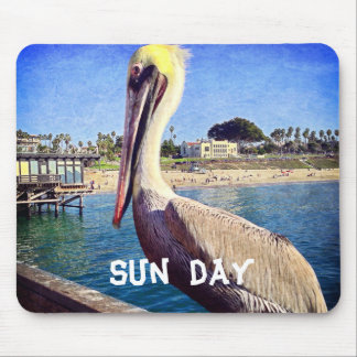 """Sun Day"" Quote Cute Beach Pier Pelican Bird Photo Mouse Pad"