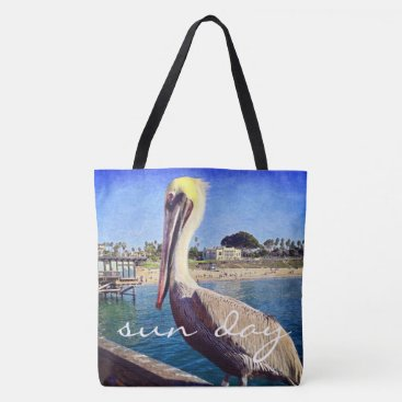 """Beach Themed """"Sun day"""" quote oceanside pelican photo tote bag"""