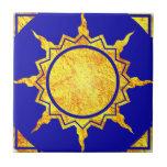 Sun de la Atlántida en azul Azulejos
