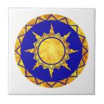Sun de la Atlántida en azul Azulejos Cerámicos