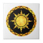 Sun de la Atlántida en negro Azulejo Ceramica