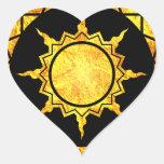 Sun de la Atlántida en negro Calcomanía Corazón Personalizadas