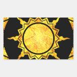 Sun de la Atlántida en negro Rectangular Pegatinas