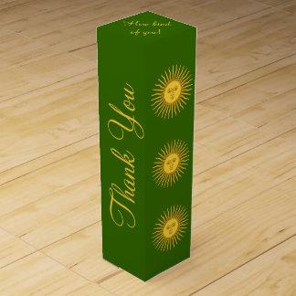 Sun de la caja de regalo del vino del adorno de cajas para vino