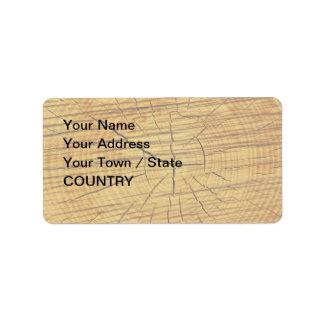 Sun de la madera etiqueta de dirección
