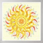 Sun de oro Chakra chispeante Impresiones