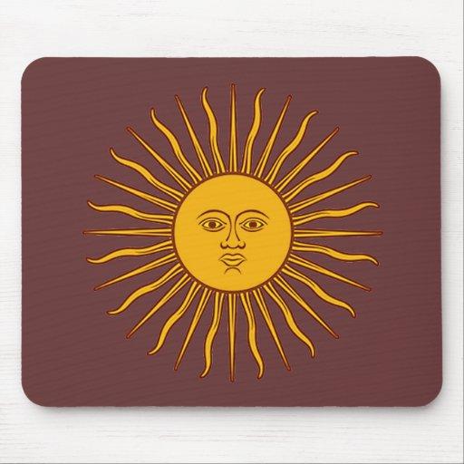 Sun de oro de la bandera Mousepad de mayo la Argen