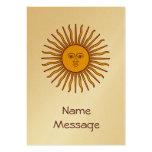 Sun de oro de la tarjeta de visita de la bandera d