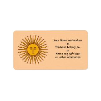 Sun de oro de las etiquetas de dirección del