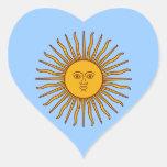 Sun de oro de los pegatinas del corazón de la pegatina en forma de corazón