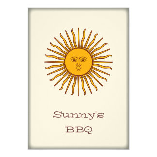 """Sun de oro del fiesta del Bbq de mayo invita Invitación 5"""" X 7"""""""