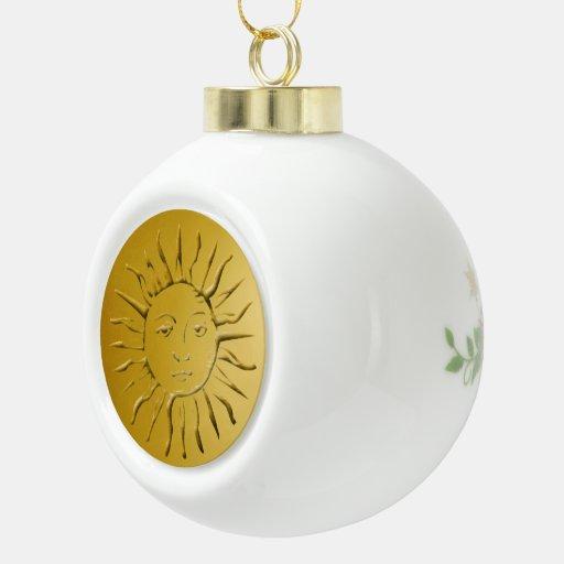 Sun de oro - ornamento de la bola adorno de cerámica en forma de bola