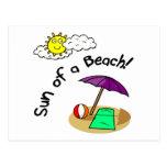 Sun de una playa tarjetas postales