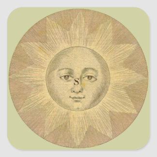 Sun Detail from Antique Bowles Map, circa 1780 Square Sticker