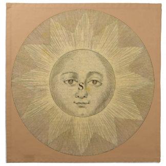 Sun - detalle solar del mapa antiguo circa 1780 servilletas de papel