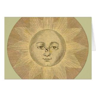 Sun - detalle solar del mapa antiguo circa 1780 tarjeta de felicitación