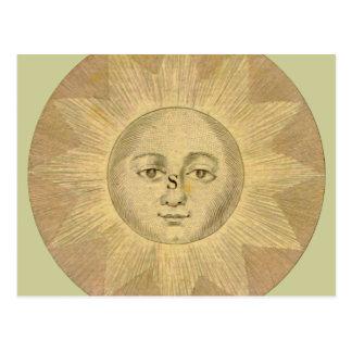 Sun - detalle solar del mapa antiguo circa 1780 tarjetas postales