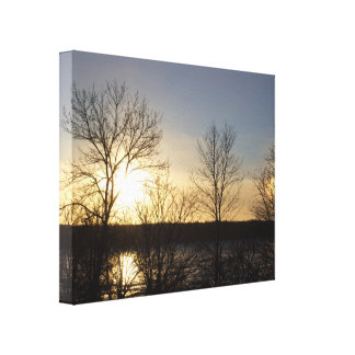 Sun Dogs Over Sauer Lake Stretched Canvas Print