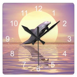 Sun Dolphin Square Wall Clock