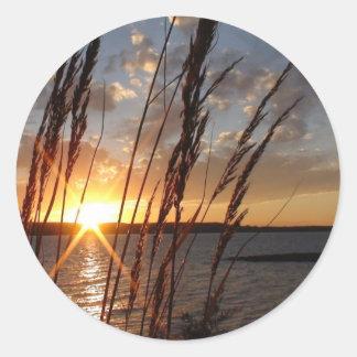 Sun Down at the Lake Classic Round Sticker