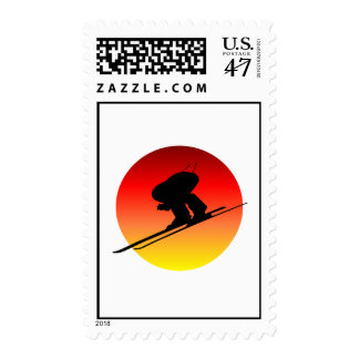 Sun downhill skiing postage