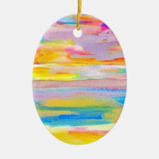 Sun Drama 2 Ocean Sea Lovers Colorful Art Ceramic Ornament