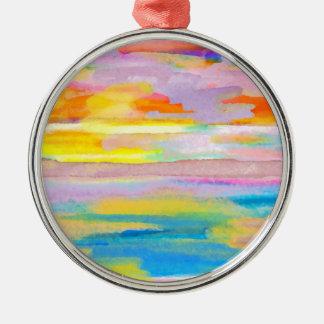 Sun Drama 2 Ocean Sea Lovers Colorful Art Metal Ornament