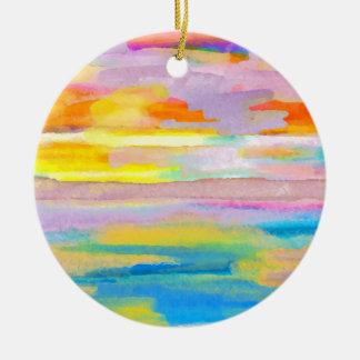 Sun Drama 2 Ocean Sea Lovers Colorful Art Christmas Tree Ornament