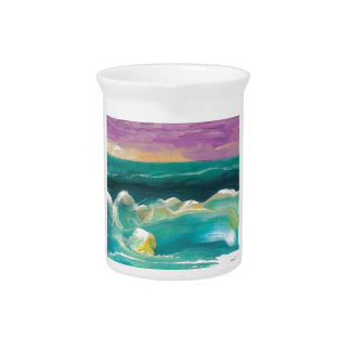 Sun Drama in the Ocean Waves Seascape Drink Pitcher