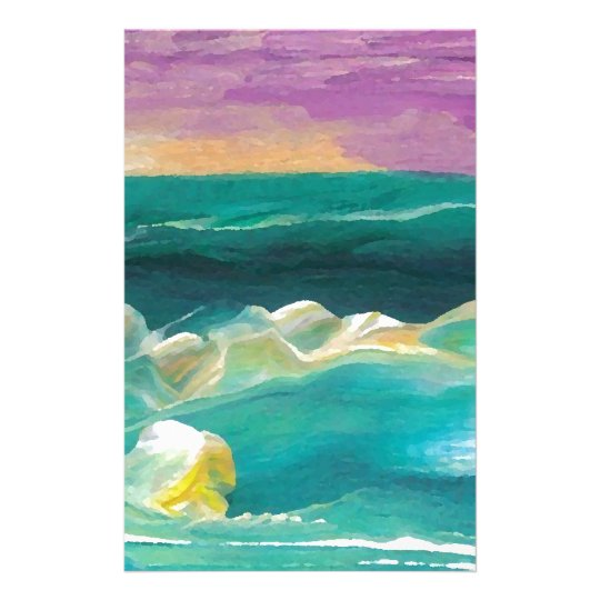 Sun Drama in the Ocean Waves Seascape Stationery