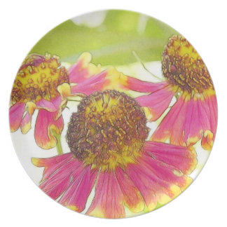 Sun Drenched Heleniums Plate