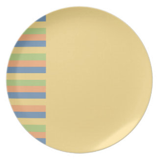 Sun Drenched Yellow with Striped Colors Melamine Plate