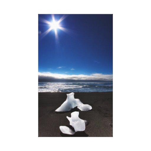 Sun e hielo en Jokulsarlon Impresiones En Lona