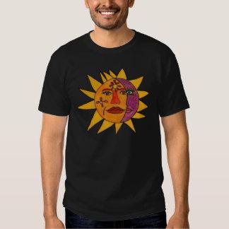 Sun e ilustraciones a mano de la luna poleras