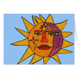 Sun e ilustraciones a mano de la luna tarjeta de felicitación