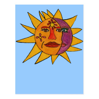 Sun e ilustraciones a mano de la luna tarjeta postal