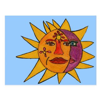 Sun e ilustraciones a mano de la luna tarjetas postales