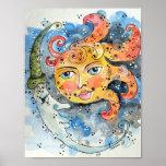 Sun e impresión y poster del arte de la luna